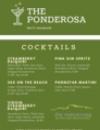 The Ponderosa Cocktail Menu